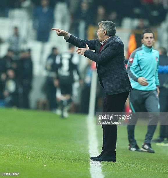 Head Coach of Besiktas Senol Gunes reacts during the Turkish Spor Toto Super Lig soccer match between Besiktas and Bursaspor at Vodafone Arena in...