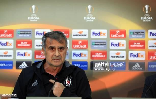 Head coach of Besiktas Senol Gunes speaks during a press conference ahead of the UEFA Europa League second leg quarter final football match between...