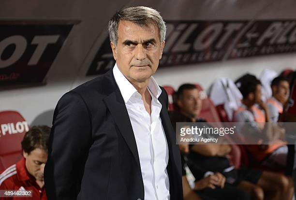 Head coach of Besiktas Senol Gunes watches the Turkish Spor Toto Super League soccer match between Genclerbirligi and Besiktas in Ankara Turkey on...