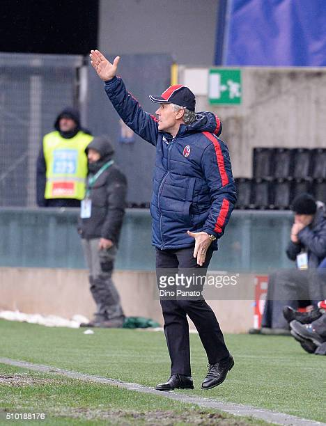 Head coach of Bologna FC Roberto Donadoni reacts during the Serie A match between Udinese Calcio and Bologna FC at Stadio Friuli on February 14 2016...