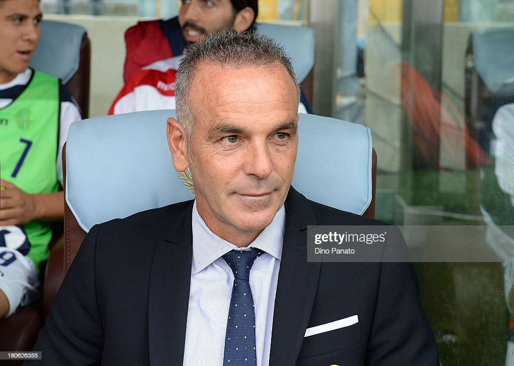Head coach of Bologna FC <a gi-track='captionPersonalityLinkClicked' href=/galleries/search?phrase=Stefano+Pioli&family=editorial&specificpeople=6314383 ng-click='$event.stopPropagation()'>Stefano Pioli</a> looks on during the Serie A match between Udinese Calcio and Bologna FC at Stadio Friuli on September 15, 2013 in Udine, Italy.