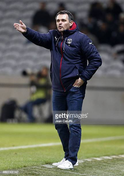 Head coach of Bordeaux Willy Sagnol reacts during the French League Cup match between Lille OSC and Girondins de Bordeaux at Grand Stade Pierre...