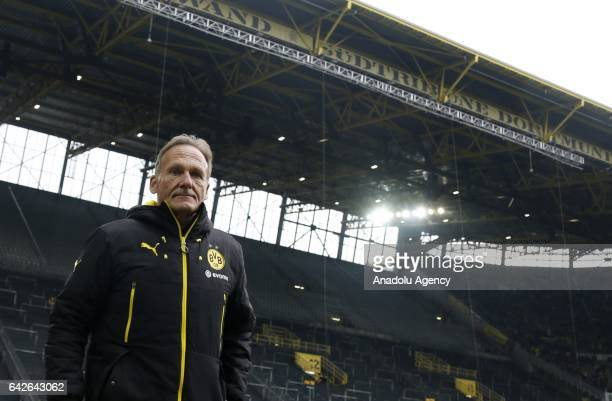 Head coach of Borussia Dortmund Hans Joachim Watzke is seen in front of the closed south stand before the Bundesliga soccer match between Borussia...