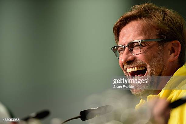 Head coach of Borussia Dortmund Juergen Klopp talks to the media during the DFB Cup Final 2015 press conference at Olympiastadion on May 29 2015 in...