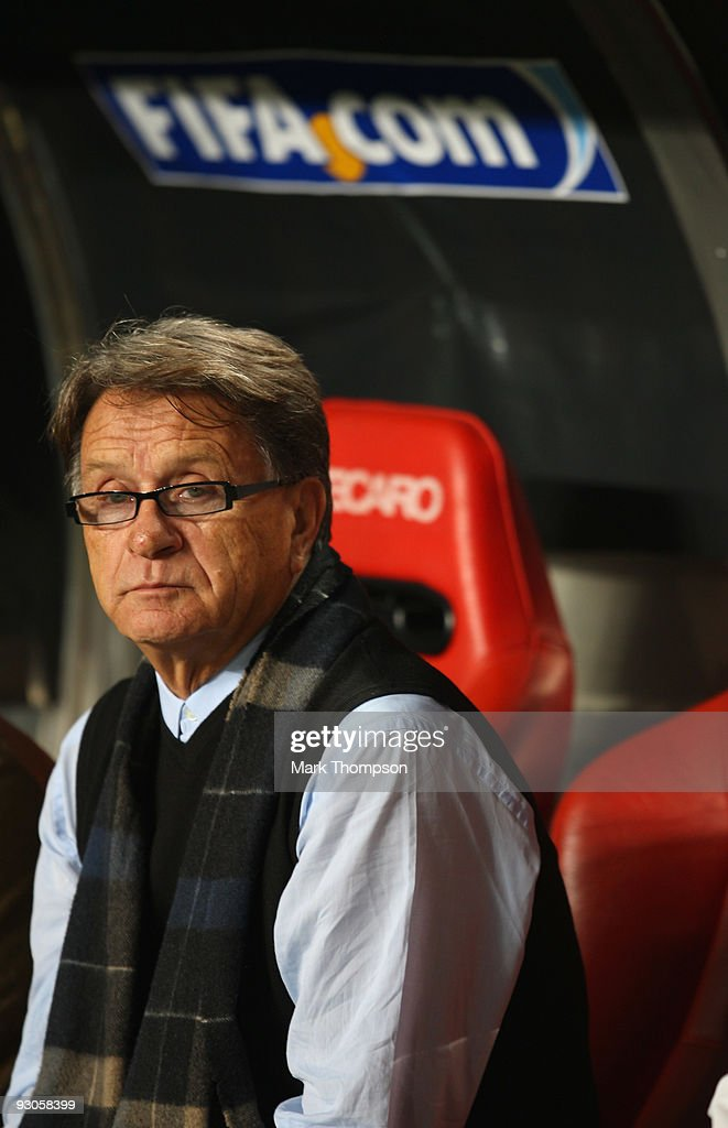 Head coach of Bosnia Miroslav Blazevic during the FIFA 2010 European World Cup qualifier first leg match between Portugal and Bosnia-Herzegovina at the Luz stadium on November 14, 2009 in Lisbon, Portugal.