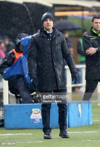 Head coach of Cagliari Massimo Rastelli during the Serie A match between Atalanta BC and Cagliari Calcio at Stadio Atleti Azzurri d'Italia on...