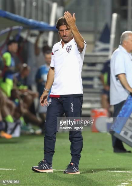 Head coach of Cagliari Massimo Rastelli gestures during the PreSeason Friendly match between FC Crotone and Cagliari Calcio at Stadio Comunale Ezio...