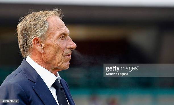 Head coach of Cagliari Zdenek Zeman looks on during the Serie A match between SSC Napoli and Cagliari Calcio at Stadio San Paolo on November 23 2014...