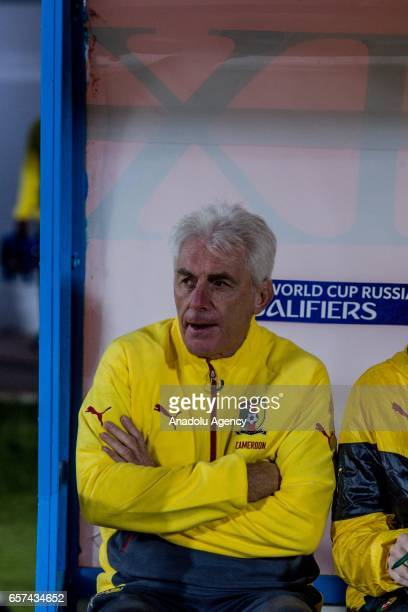 Head coach of Cameroon Hugo Broos looks on during the friendly football match between Tunisia and Cameroon at the Ben Jannet stadium in Monastir...