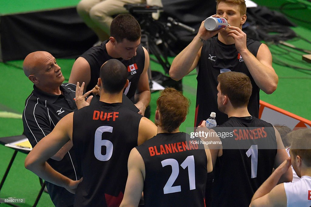 Head coach of Canada Glenn Hoag gives advice to his players during the Men's World Olympic Qualification game between Poland and Canada at Tokyo Metropolitan Gymnasium on May 28, 2016 in Tokyo, Japan.