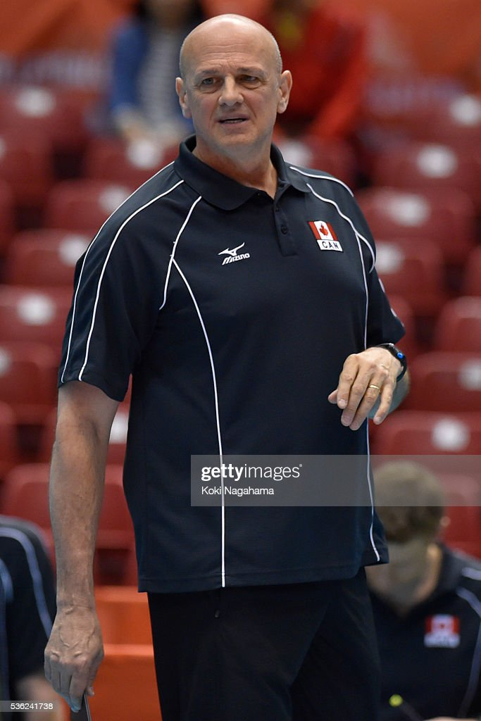 Head coach of Canada Glenn Hoag looks on during the Men's World Olympic Qualification game between Venezuela and Canada at Tokyo Metropolitan Gymnasium on June 1, 2016 in Tokyo, Japan.
