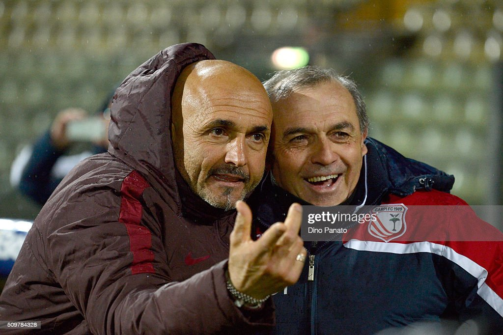 Head coach of Carpi <a gi-track='captionPersonalityLinkClicked' href=/galleries/search?phrase=Fabrizio+Castori&family=editorial&specificpeople=6339052 ng-click='$event.stopPropagation()'>Fabrizio Castori</a> (R) and Head coach of AS Roma <a gi-track='captionPersonalityLinkClicked' href=/galleries/search?phrase=Luciano+Spalletti&family=editorial&specificpeople=708667 ng-click='$event.stopPropagation()'>Luciano Spalletti</a> poses during the Serie A match between Carpi FC and AS Roma at Alberto Braglia Stadium on February 12, 2016 in Modena, Italy.