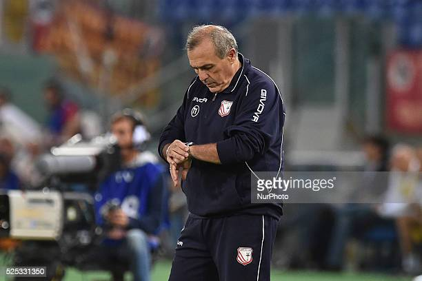 head coach of Carpi Fabrizio Castori during the Italian Serie A match between AS Roma and FC Carpi at Stadio Olimpico in Rome on September 26 2015