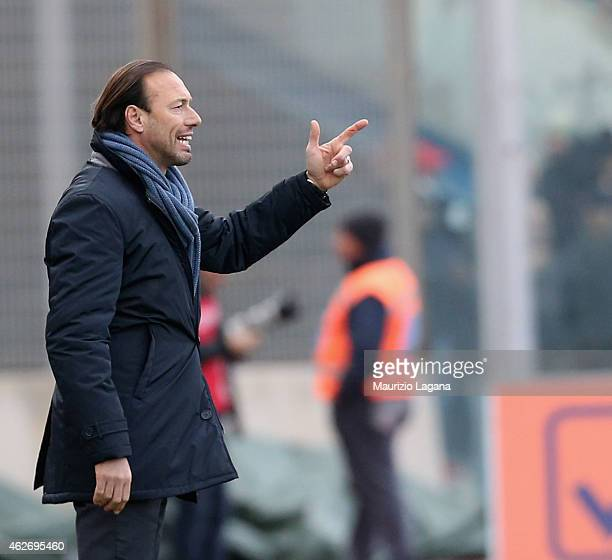 Head coach of Catania Dario Marcolin gestures during the Serie B match between Calcio Catania and AC Perugia at Stadio Angelo Massimino on January 31...
