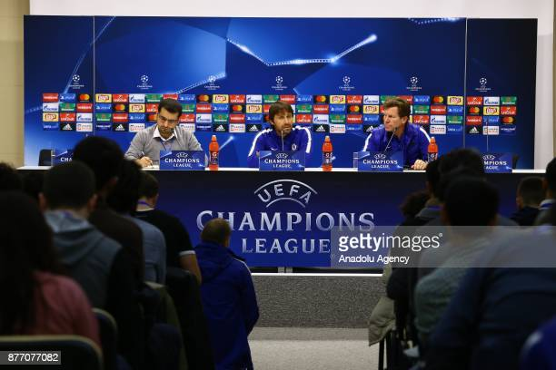 Head coach of Chelsea Antonio Conte and goal keeper of Chelsea Thibaut Courtois hold a press conference ahead of the UEFA Champions League Group C...