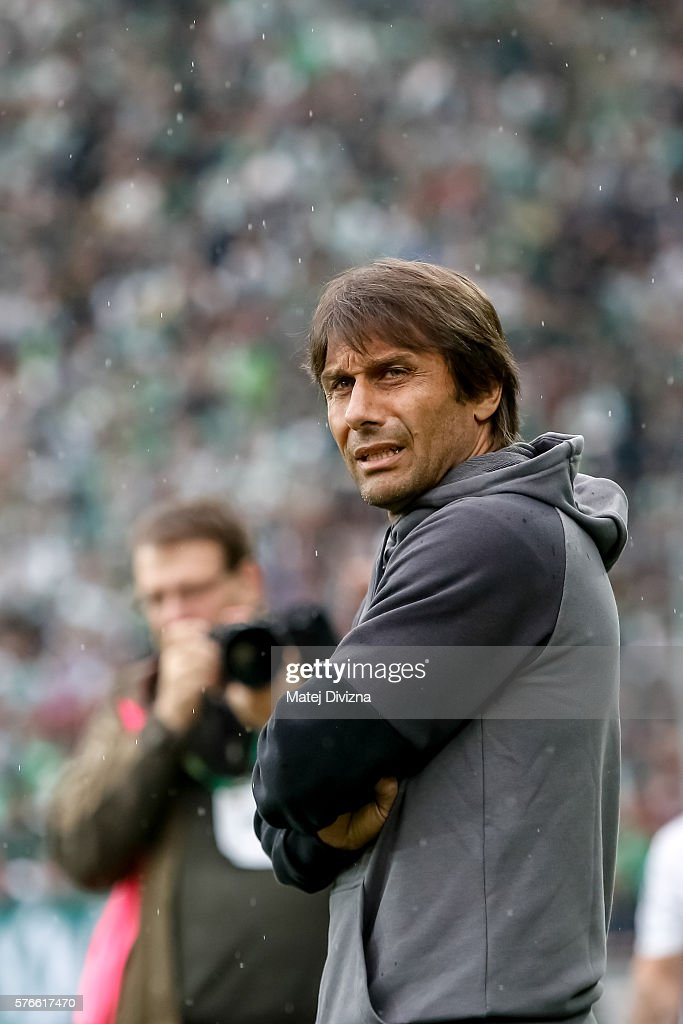 Head coach of Chelsea Antonio Conte is seen on the bench before an friendly match between SK Rapid Vienna and Chelsea FC at Allianz Stadion on July...