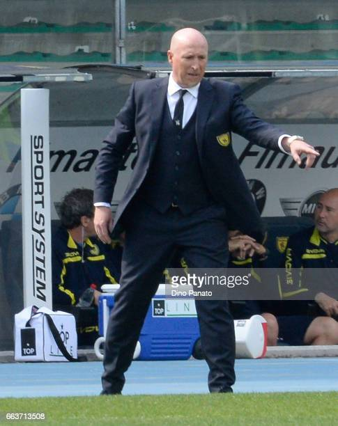 Head coach of ChievoVerona Rolando Maran gestures during the Serie A match between AC ChievoVerona and FC Crotone at Stadio Marc'Antonio Bentegodi on...