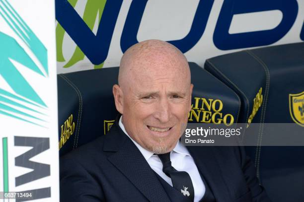 Head coach of ChievoVerona Rolando Maran looks on during the Serie A match between AC ChievoVerona and FC Crotone at Stadio Marc'Antonio Bentegodi on...