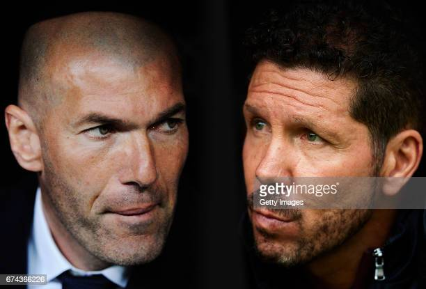 COMPOSITE OF TWO IMAGES Image numbers 516743572 and 617499668 In this composite image a comparision has been made between Real Madrid Head Coach...