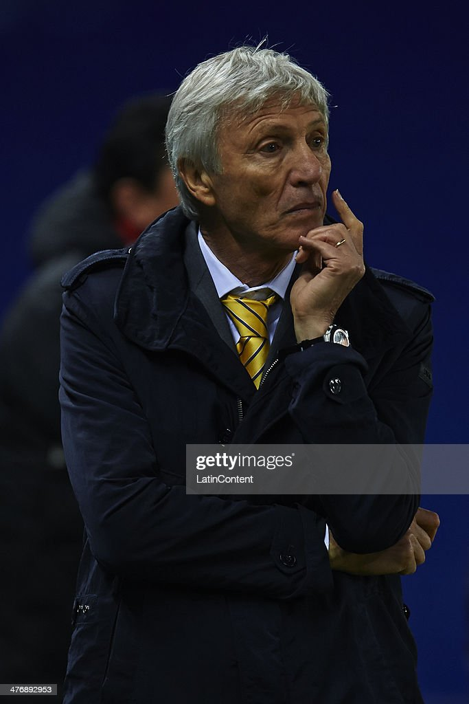 Head Coach of Colombia Jose Nestor Pekerman reacts during the International friendly match between Colombia and Tunisia at Cornella el Prat Stadium, 2014 in Barcelona, Spain.