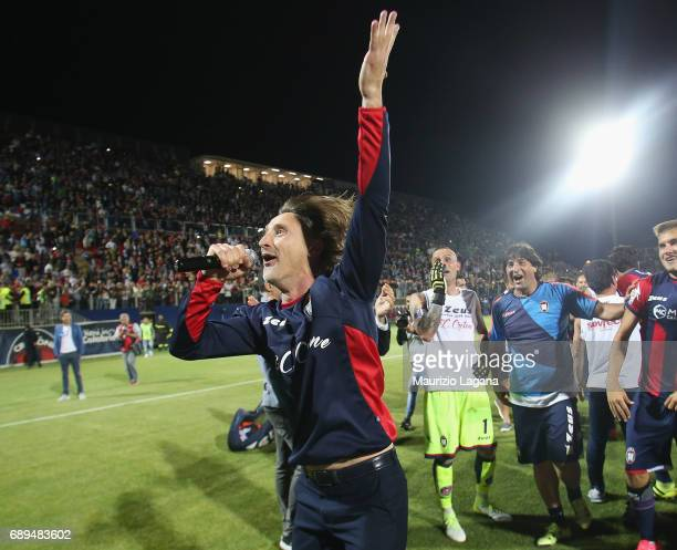 Head coach of Crotone celebrates after the Serie A match between FC Crotone and SS Lazio at Stadio Comunale Ezio Scida on May 28 2017 in Crotone Italy