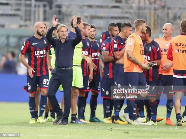 Head coach of Crotone Davide Nicola celebrates after the Serie A match between FC Crotone and Benevento Calcio at Stadio Comunale Ezio Scida on...