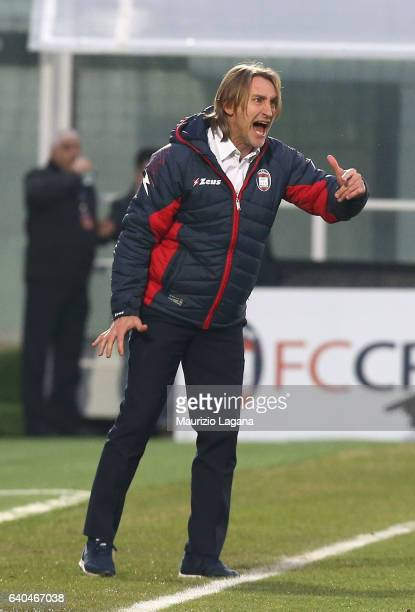 Head coach of Crotone Davide Nicola during the Serie A match between FC Crotone and Empoli FC at Stadio Comunale Ezio Scida on January 29 2017 in...