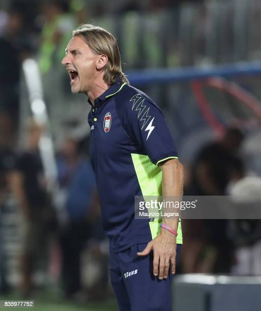 Head coach of Crotone Davide Nicola during the Serie A match between FC Crotone and AC Milan on August 20 2017 in Crotone Italy
