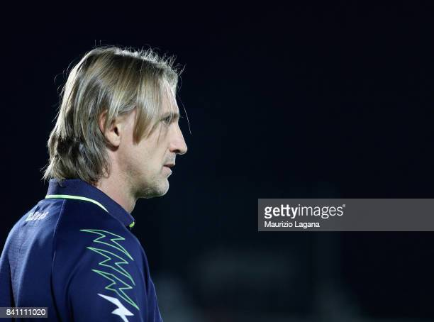 Head coach of Crotone Davide Nicola during the Serie A match between FC Crotone and Hellas Verona FC at Stadio Comunale Ezio Scida on August 27 2017...