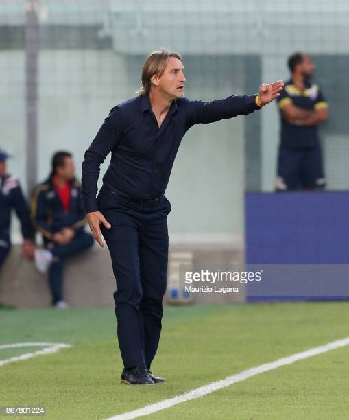 Head coach of Crotone Davide Nicola during the Serie A match between FC Crotone and ACF Fiorentina at Stadio Comunale Ezio Scida on October 29 2017...