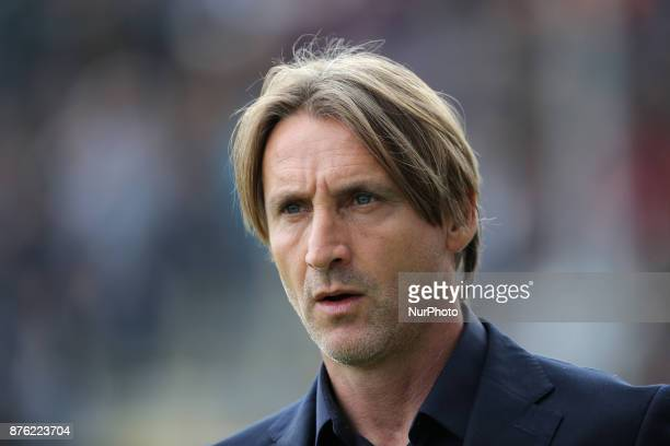 Head coach of Crotone Davide Nicola during the Serie A match between FC Crotone and Genoa CFC at Stadio Comunale Ezio Scida on November 19 2017 in...
