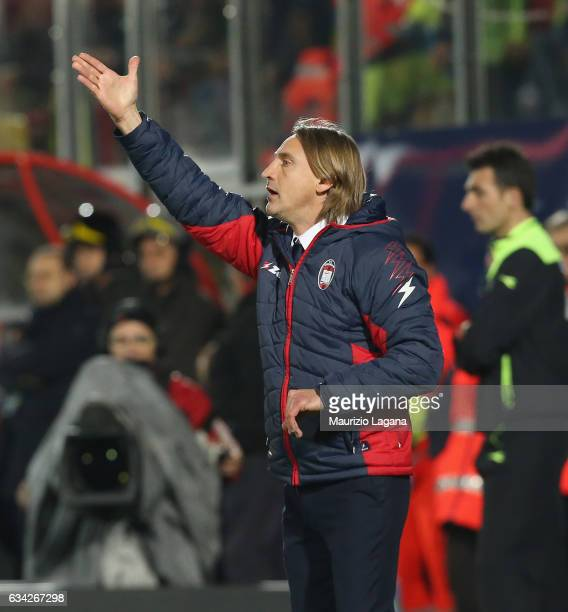 Head coach of Crotone Davide Nicola gestures during the Serie A match between FC Crotone and Juventus FC at Stadio Comunale Ezio Scida on February 8...