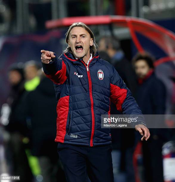 Head coach of Crotone Davide Nicola gestures during the Serie A match between FC Crotone and Bologna FC at Stadio Comunale Ezio Scida on January 14...