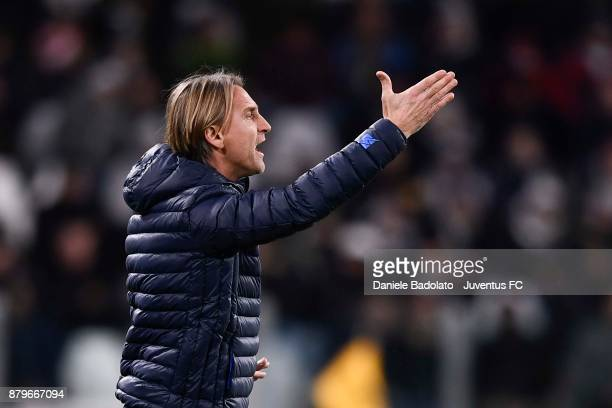 head coach of Crotone Davide Nicola gestures during the Serie A match between Juventus and FC Crotone at Allianz Stadium on November 26 2017 in Turin...