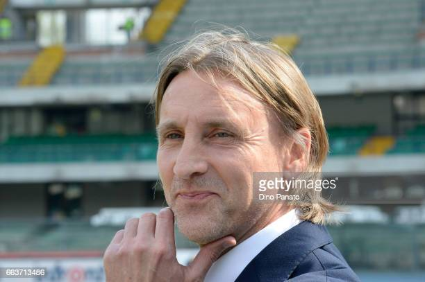 Head coach of Crotone Davide Nicola looks on during the Serie A match between AC ChievoVerona and FC Crotone at Stadio Marc'Antonio Bentegodi on...