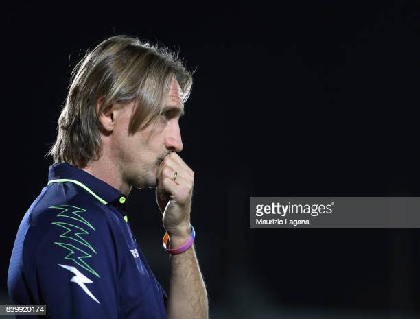 Head coach of Crotone Davide Nicola looks on during the Serie A match between FC Crotone and Hellas Verona FC at Stadio Comunale Ezio Scida on August...