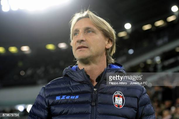 head coach of Crotone Davide Nicola looks on during the Serie A match between Juventus and FC Crotone at Allianz Stadium on November 26 2017 in Turin...