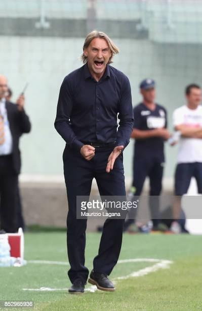 Head coach of Crotone Davide Nicola reacts during the Serie A match between FC Crotone and Benevento Calcio at Stadio Comunale Ezio Scida on...