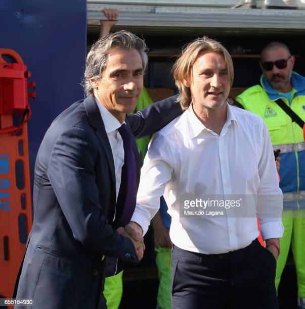 Head coach of Crotone Davide Nicola salutes head coach of Fiorentina Paulo Sousa the Serie A match between FC Crotone and ACF Fiorentina at Stadio...