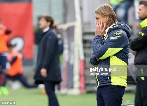 Head coach of Crotone Davide Nicola shows his dejection during the Serie A match between FC Crotone and Cagliari Calcio at Stadio Comunale Ezio Scida...