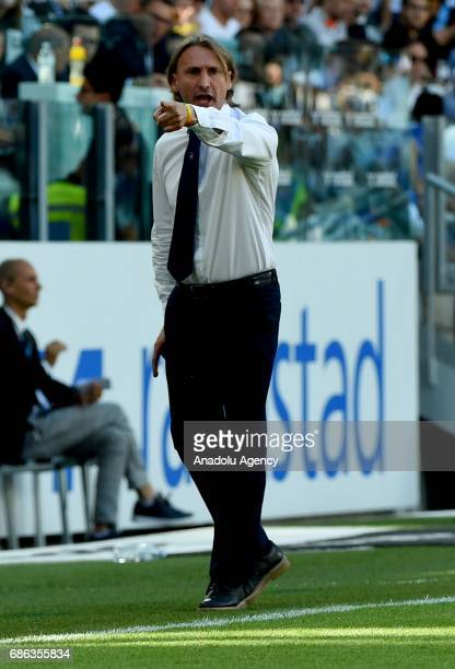 Head coach of Crotone FC Davide Nicola gestures during Italian Serie A football match between Juventus and FC Crotone at Juventus Stadium in Turin...