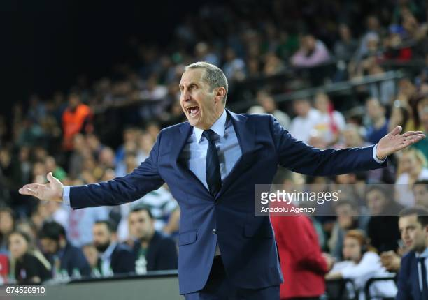 Head Coach of Darussafaka Dogus David Blatt reacts during the Turkish Airlines EuroLeague Playoffs Game 4 between Darussafaka Dogus and Real Madrid...