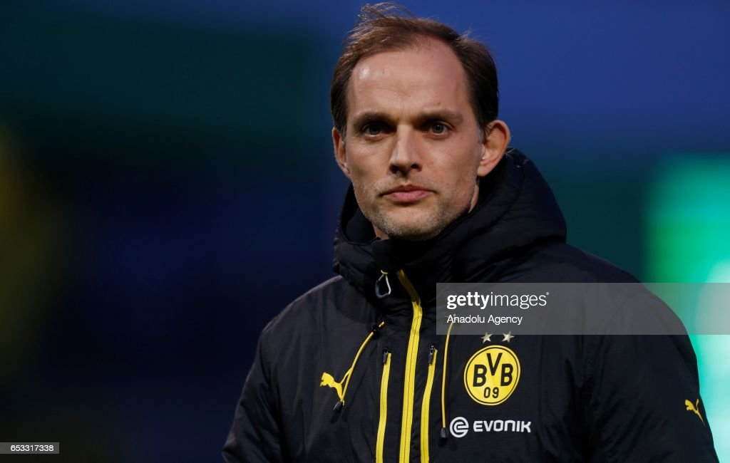 Head coach of Dortmund, Thomas Tuchel is seen during the DFB Cup quarter final between Sportfreunde Lotte and Borussia Dortmund at Bremer Bruecke Stadium on March 14, 2017 in Osnabrueck, Germany.