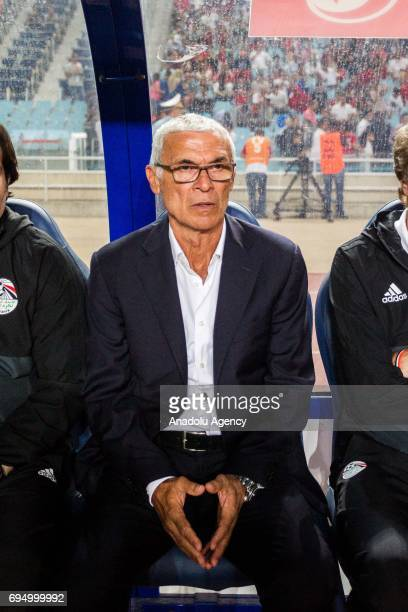 Head coach of Egypt Hector Cuper looks on during the African Cup of Nations 2019 qualifier football match between Tunisia and Egypt at Olympus Rades...