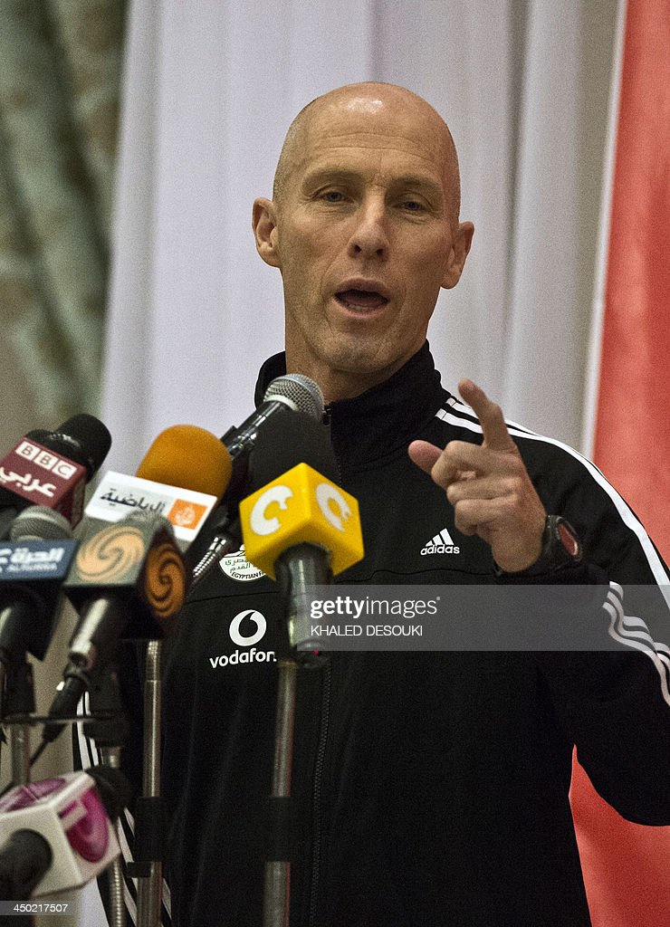US head coach of Egypt's national football team Bob Bradli, speaks during a press conference in Cairo on November 17, 2013 ahead of a return leg of a final World Cup play-off against Ghana. FIFA have ruled that Cairo is safe for a 2014 Africa Zone World Cup playoff between hosts Egypt and Ghana. Ghana had raised objections to Cairo hosting the match after the recent anti-government protests in Egypt.