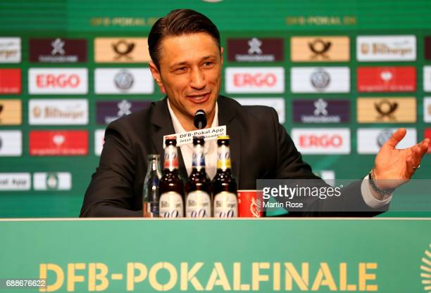 Head coach of Eintracht Frankfurt Niko Kovac talks to the media during the DFB Cup Final 2017 press conference at Olympiastadion on May 26 2017 in...