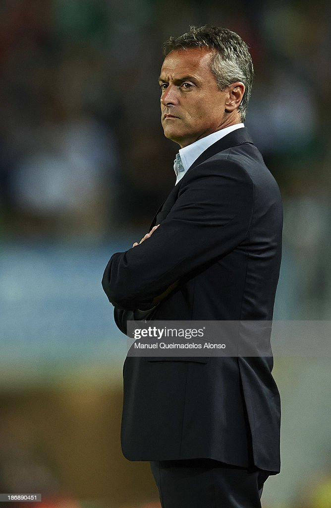Head coach of Elche Fran Escriba looks on during the La Liga match between Elche CF and Villarreal CF at Estadio Manuel Martinez Valero on November 4, 2013 in Elche, Spain.