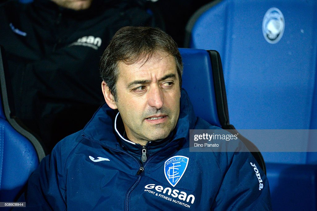 Head coach of Empoli Marco Giampaolo looks on during the Serie A match between Atalanta BC and Empoli FC at Stadio Atleti Azzurri d'Italia on February 7, 2016 in Bergamo, Italy.