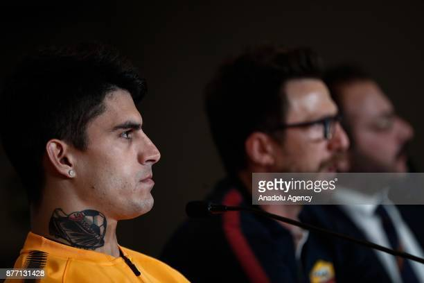 Head Coach of Eusebio Di Francesco and Diego Perotti hold a prematch press conference ahead of UEFA Champions League Group C match between Atletico...