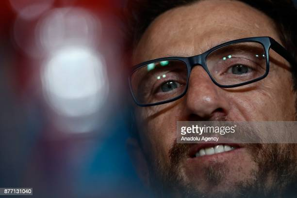 Head Coach of Eusebio Di Francesco is seen during a prematch press conference ahead of UEFA Champions League Group C match between Atletico Madrid...